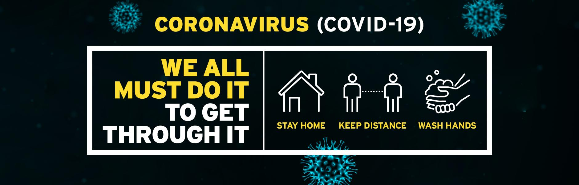Coronavirus image - Stay home, keep distance, wash hands