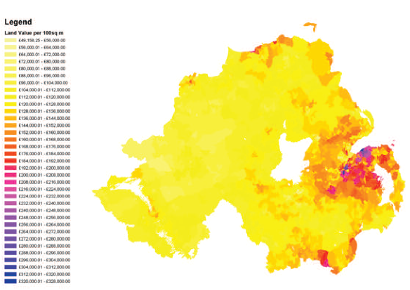 Contours of land value across Small Output Areas in Northern Ireland