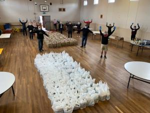 Organizing food parcels in Portglenone