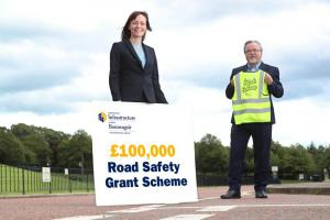 Minister Nichola Mallon with Seamus McAleavey, Chief Executive of NICVA at the launch of the 2020/21 Road Safety Grant Scheme