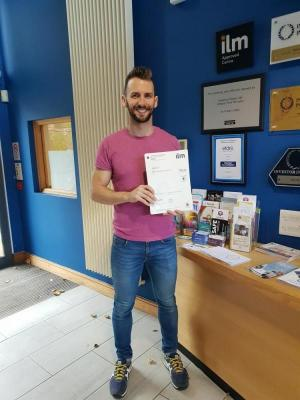 patrick anderson receiving his ILM certificate at NICVA
