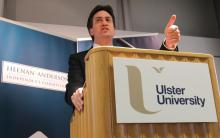 Labour leader Ed Miliband speaking at the Heenan-Anderson Commission