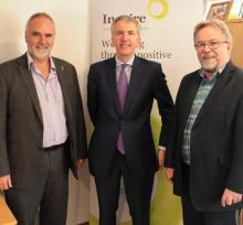 Peter McBride, CEO NIAMH; Minister of Finance; Seamus McAleavey, Chief Executive NICVA
